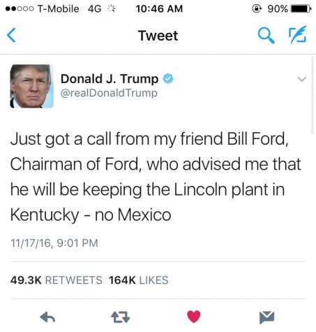 Trump's tweet taking credit for keep the Lincoln production in Kentucky.