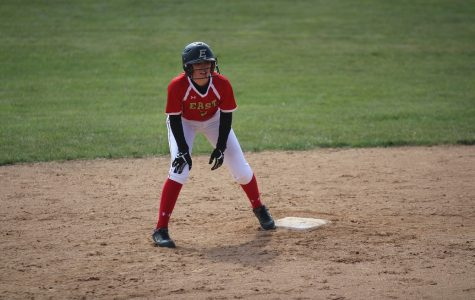Outfielder Jenna Rueve at second base.