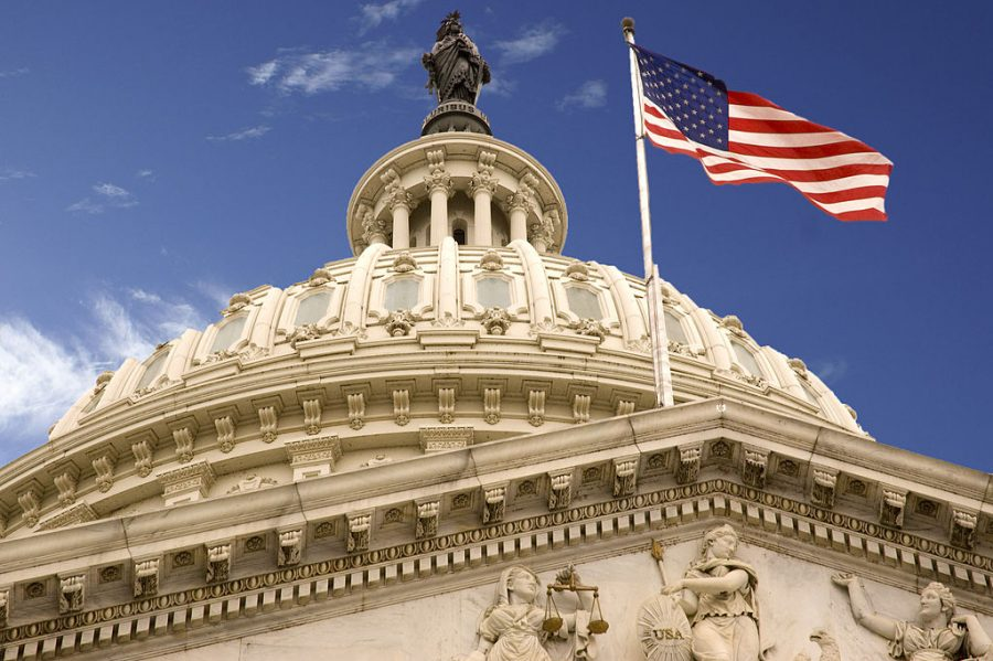 The United States Capitol building, which holds the legislative branch of the government.