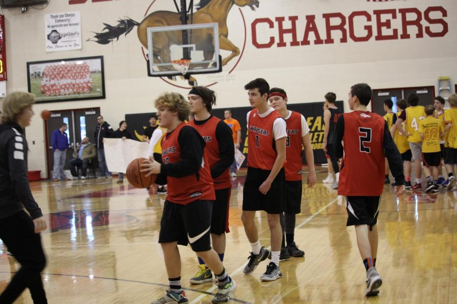 Sophomore participants warming up before the game. The sophomores were only able to win one of two games they played.