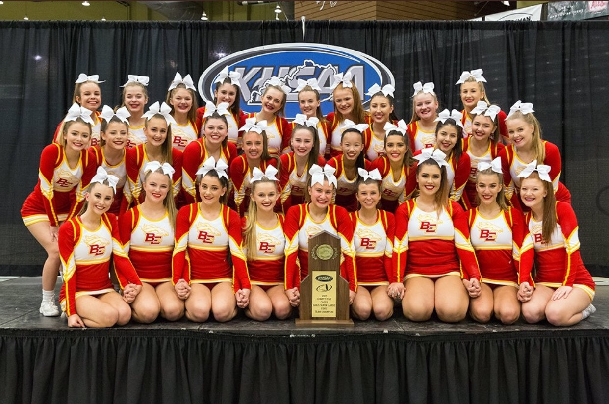 Bullitt East cheerleaders posing for a picture after winning state.