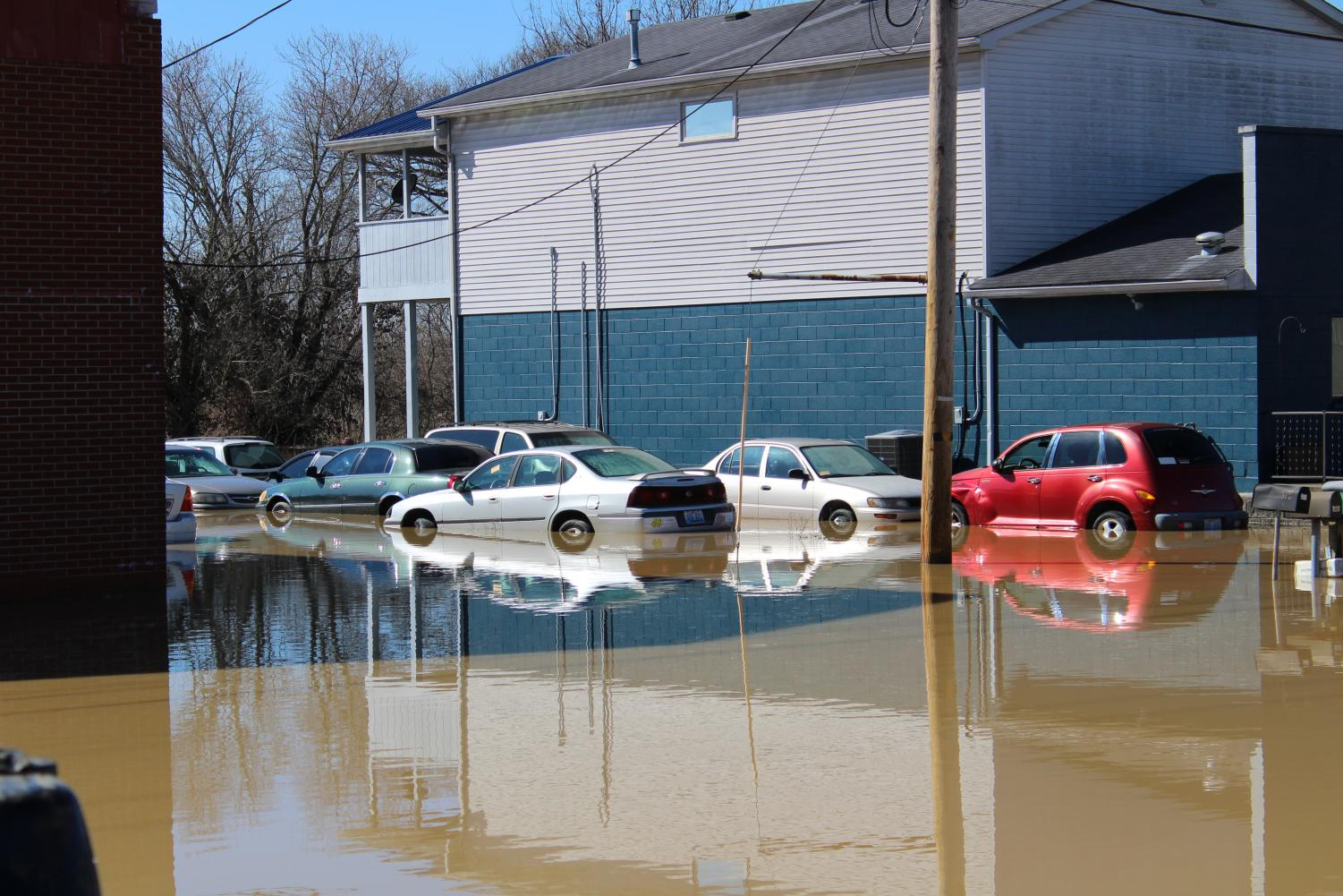 Flooding off of Main St. in Shepherdsville, KY on Monday.
