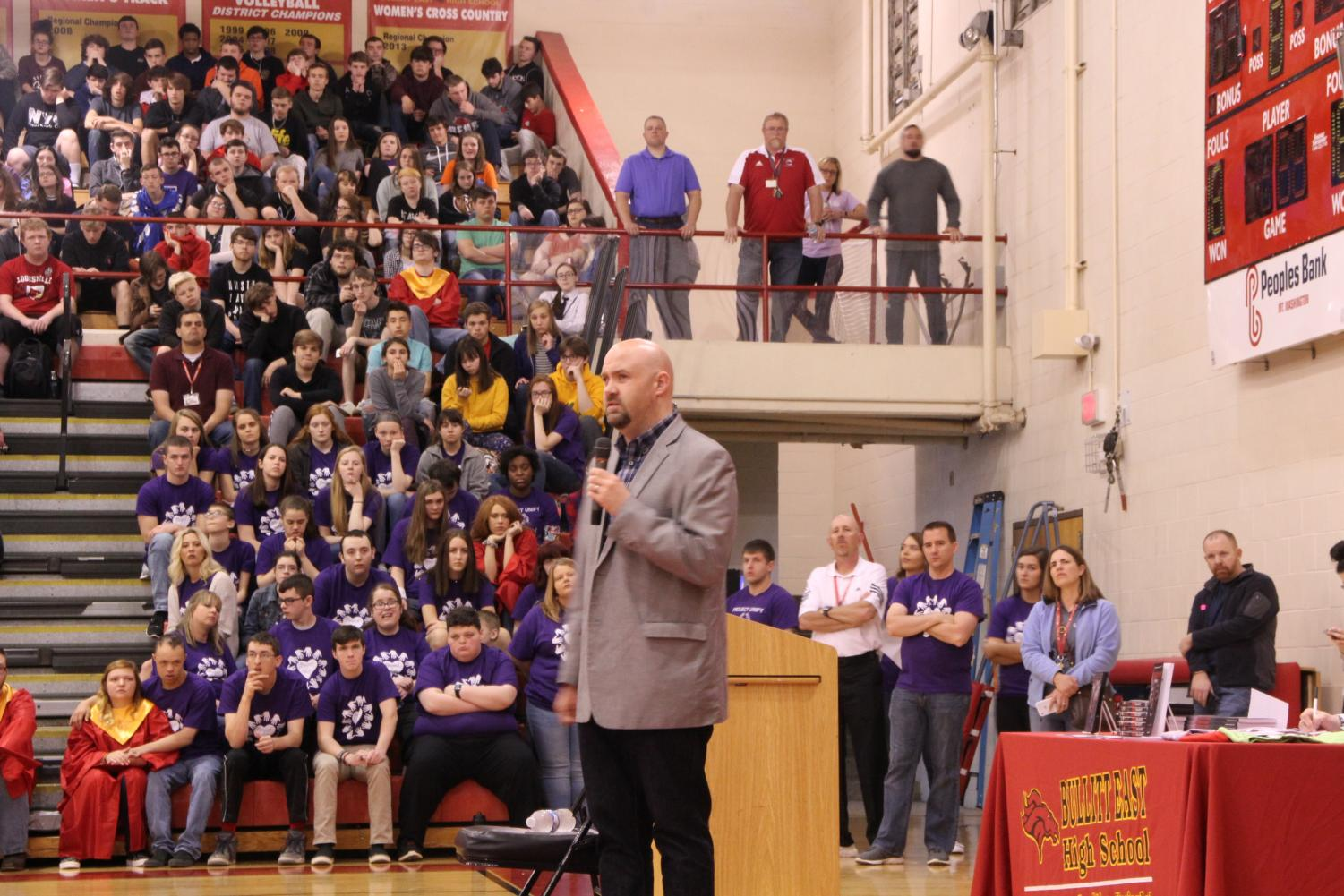 Students gathered in the gym on Friday for an amazing opportunity to hear a speech from a blind person. The speech was full of stories and inspiring comments from college professor Travis Freeman.