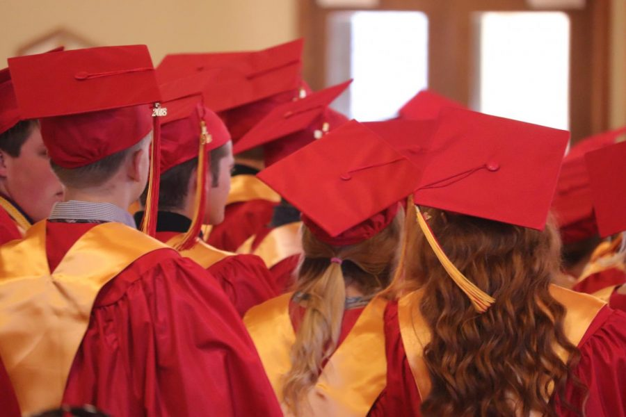 Seniors during the Baccalaureate Ceremony. This was an optional event for all seniors.