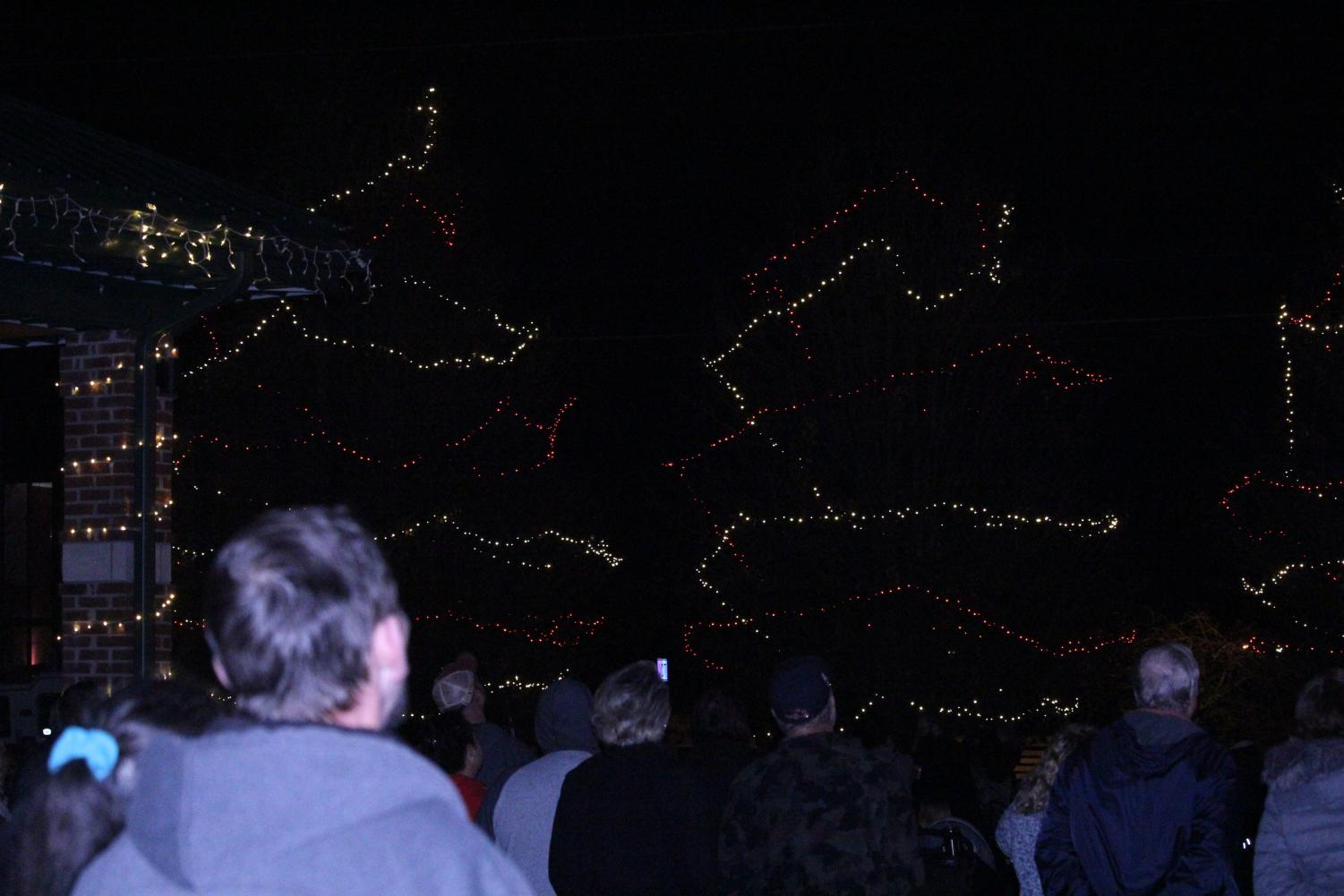 After the singing of various choirs and the parade, citizens gather to watch the lighting of multiple Christmas trees and nearby buildings. Once everything was lit, fireworks were set off.