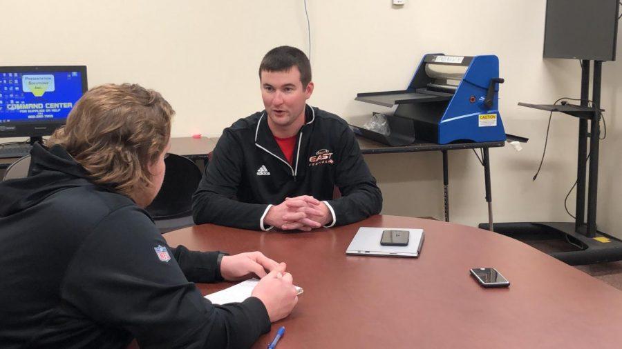 Sports Editor Tyler Mozingo interviews Atchley.