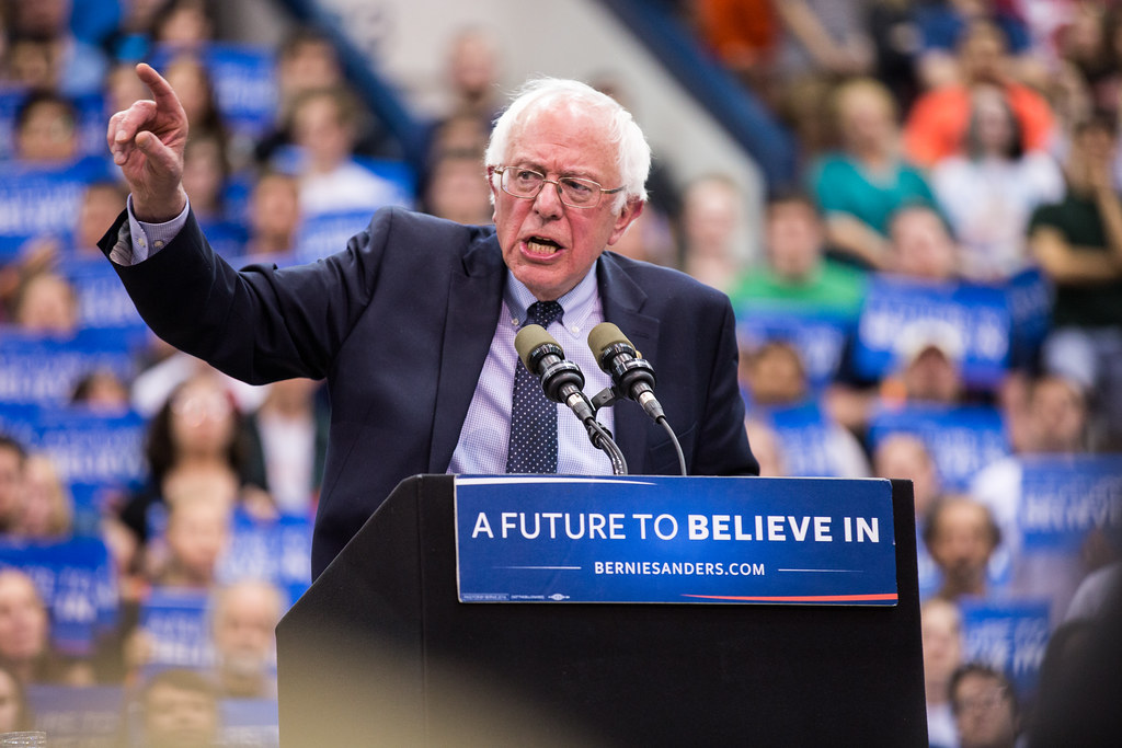 Sanders speaking at one of his rallies, campaigning for his grassroots foundation.