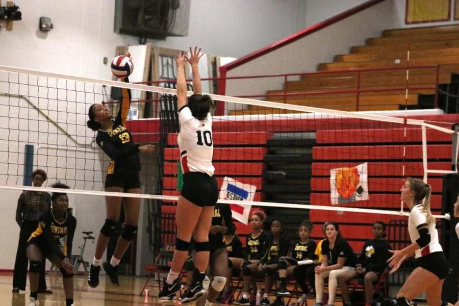 Clemens goes up to block a hit from a Central player. The team won their game against Central 3-1. Clemens said,