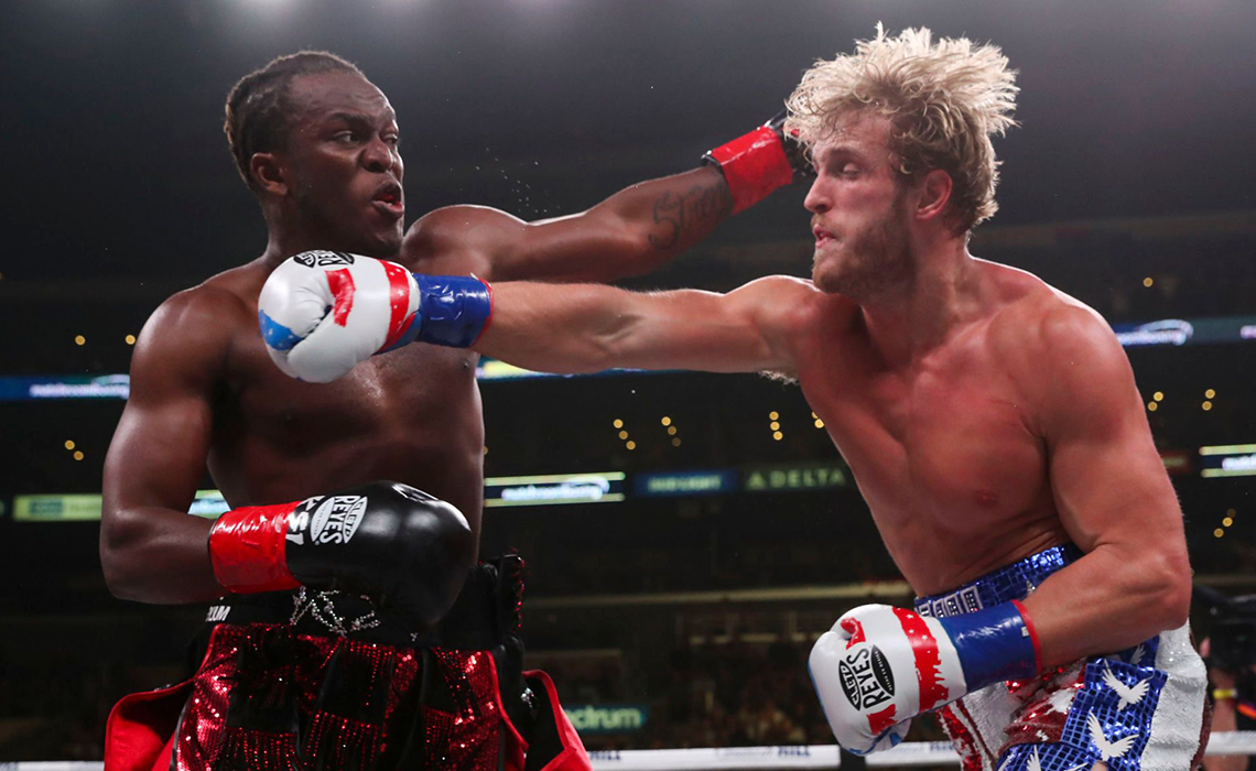 Paul and KSI exchange hits in the third round of the rematch. The match ended with KSI being the victor after majority rule.