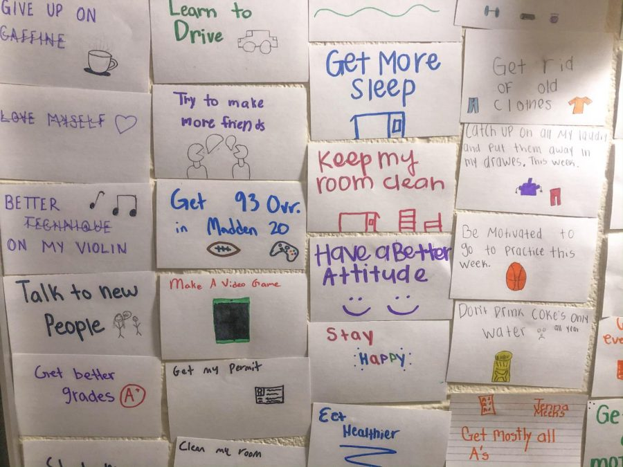 English teacher Leslie Lloyd had her students write down their resolutions for the new year. She encourages her students to make smaller goals and then work up to their overall goal to help them achieve their resolution.