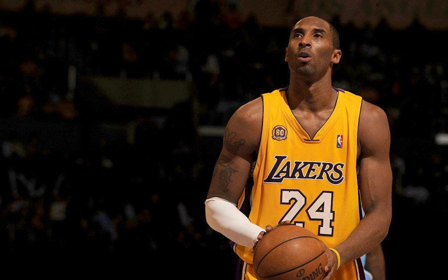 Kobe+Bryant+lines+up+for+a+free+throw+in+his+final+game.+He+played+for+the+Lakers+all+20+years+he+spent+in+the+NBA+and+won+five+championships.+