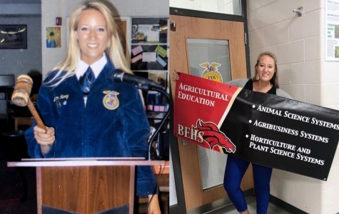 On the left, Megan McConnell poses in her FFA Official Dress when she served as president for her high school's FFA officer team. On the right shows McConnell carrying on the legacy by becoming an agriculture teacher and FFA advisor.