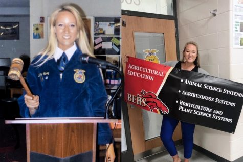 On the left, Megan McConnell poses in her FFA Official Dress when she served as president for her high school