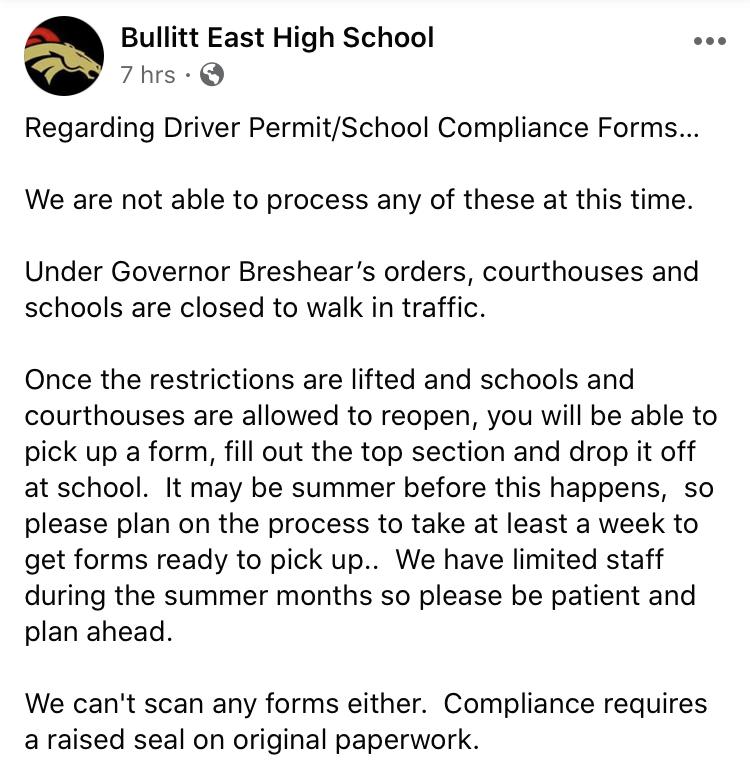 Post+from+Bullitt+East+High+School%27s+Facebook+Page.