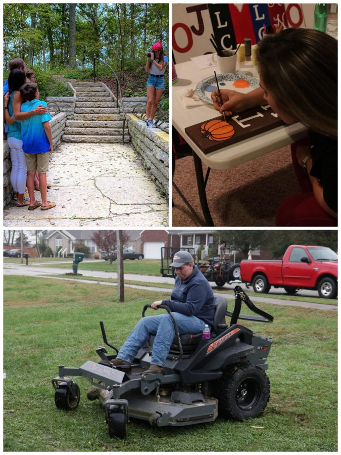 Junior Jacob Maggard mowing grass (bottom photo), junior Emma Wright taking photos (top left), and senior Bailey Korfhage hand-painting a porch leaner. These three students have all created businesses doing the three activities, you see above.