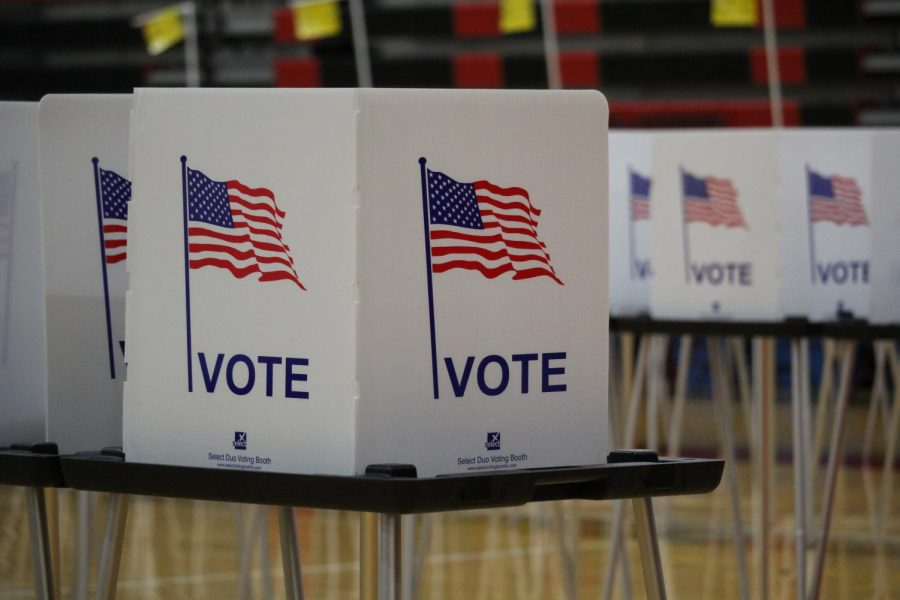 Bullitt East's gym was set up for voting this Election Day.