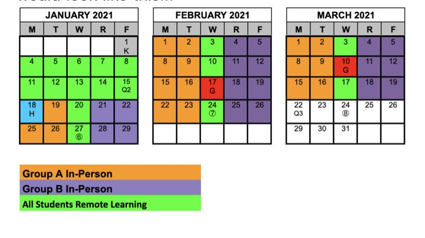 Above the new hybrid schedule is picture. It is easily colored and shows a key to know when group
