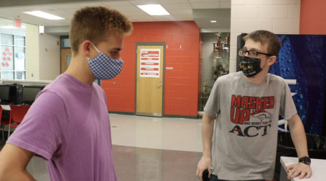 """Senior Dane Bunel questioning how junior Brodie Curtsinger did the magic trick. May 13, Bunel watched as he got everything correct, when just playing a guessing game. """"I"""