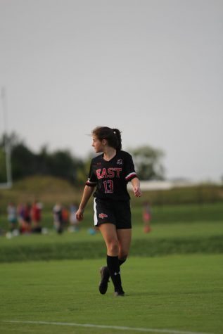 Senior Emma Wright watching her back as the ball is reset. I was glad to have scored against Atherton because it was a good opportunity to lead my team after being gone and show them that Ill give them everything Ive got, said Wright.
