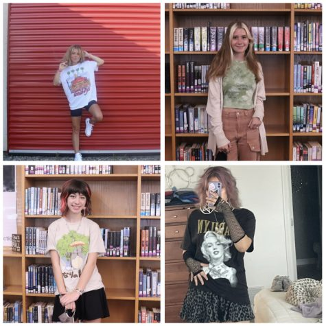 From left to right, Klaire Hourigan, Ellen Bray, Mina Austin, and Audrey Stepp wearing different styles of clothing. These students choose to show their personality through their clothes. I just dont feel right if I dont leave the house in something over the top. I have to be that one person, freshman Mina Austin said.