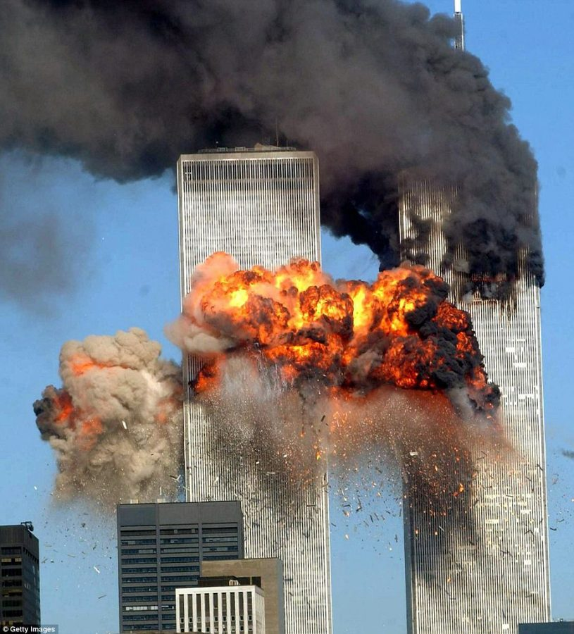 The World Trade Centers after the airplanes flew into them. The first tower was struck between 93 and 99 floor and the second tower was hit 77 and 85. Then I thought about how they were going to be fighting fires and doing rescues for days inside of those towers, Thompson said.