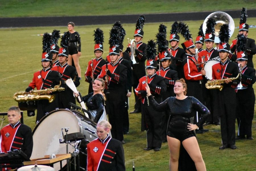 The marching band finishing out a performance.