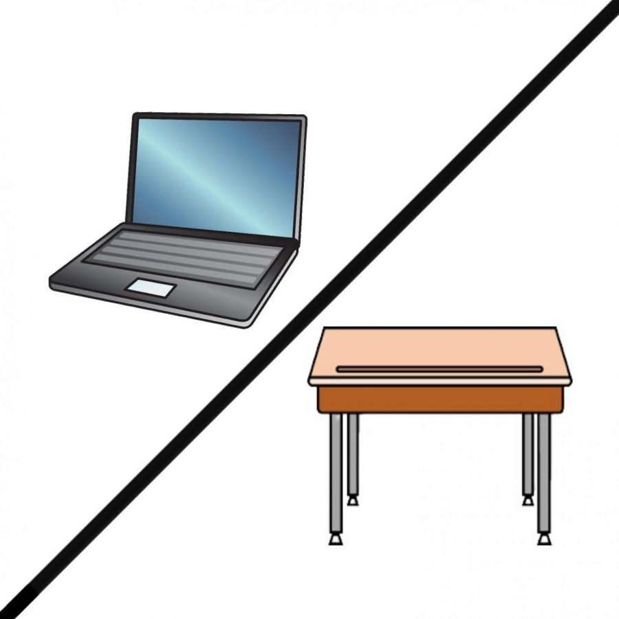 The laptop represents virtual learning. The desk represents in person learning.