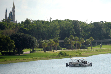 Orange County Sheriffs search for the young boy Wednesday with Magic Kingdom in the background.