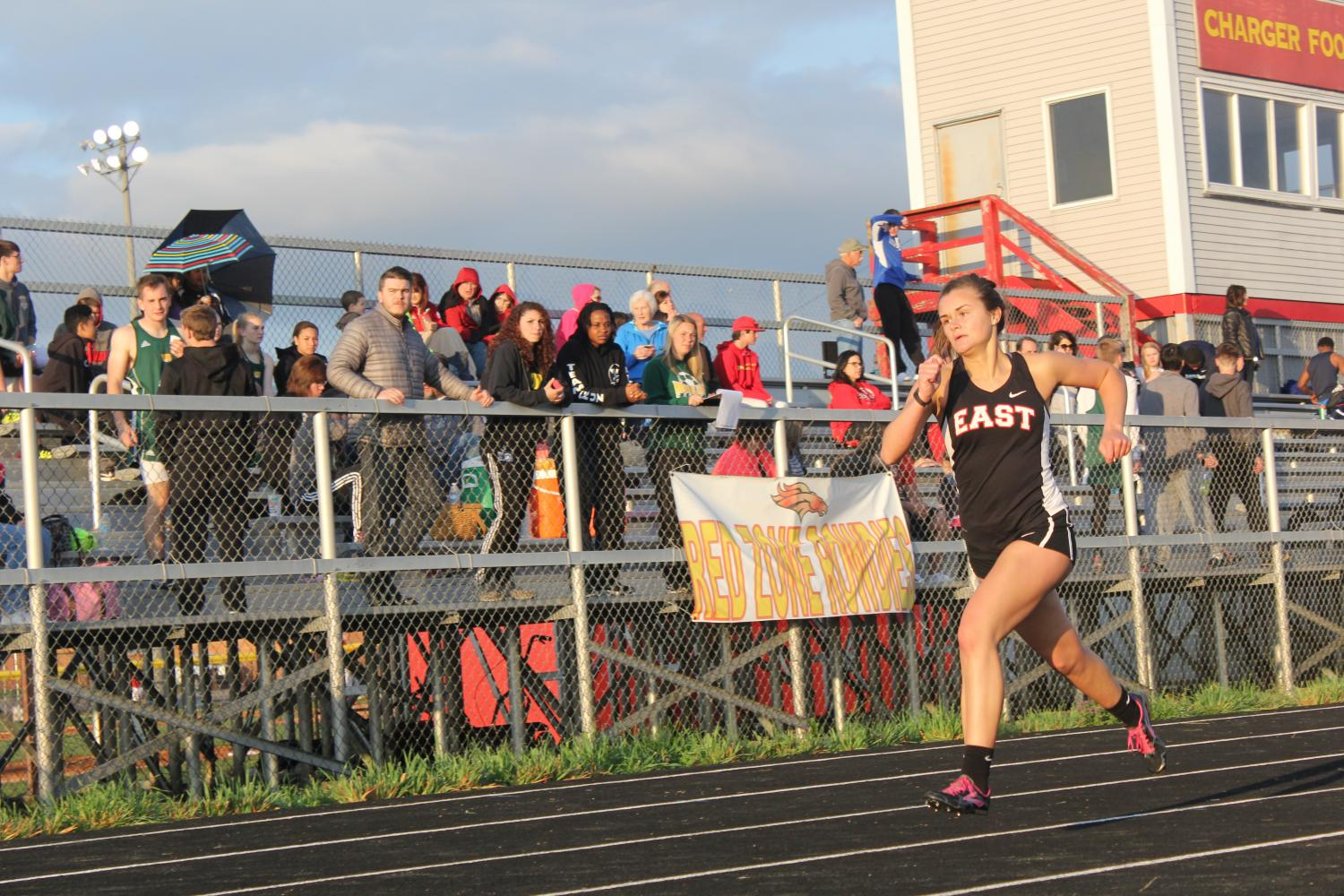 Senior+Claire+Feldhaus+runs+for+the+Bullitt+East+track+team.+Feldaus+would+have+competed+in+the+girls+4x400+meter+relay+at+state%2C+but+it+was+cancelled+due+to+bad+weather.