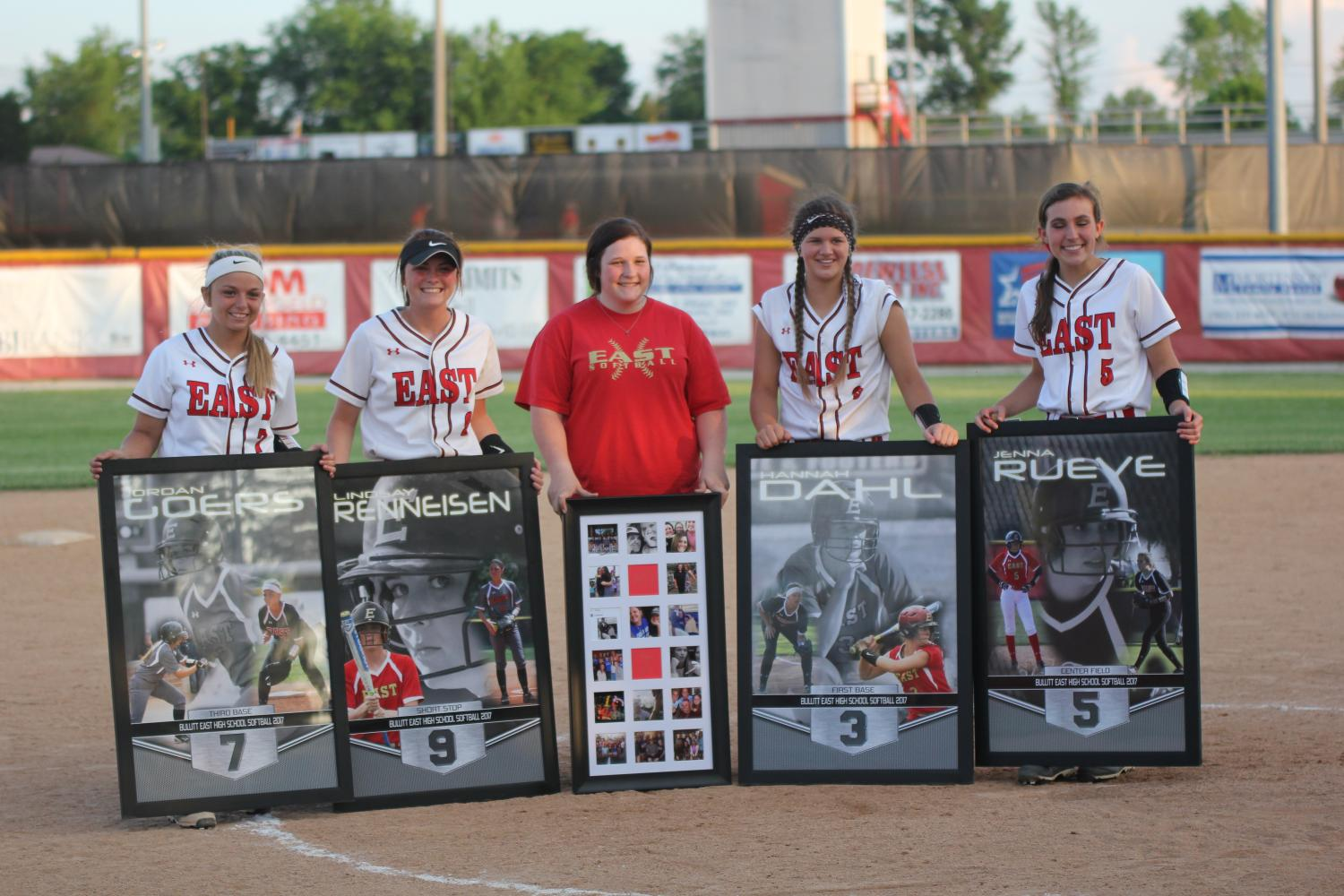 The four Bullitt East softball seniors and senior team manager Karlee Hoffman after the game against Atherton.