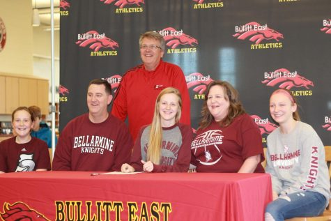 Here is Kathleen Scott and her family after she signed to Bellarmine.