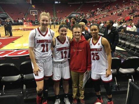 Kylee Shook, Lindsey Duvall and Asia Durr after the Virginia Tech game on Jan. 7. The Cards are 19-0 this season.