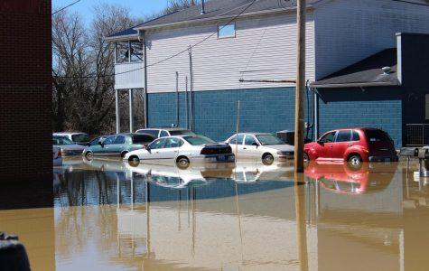 Flooding off of Main St. in Shepherdsville, KY on Monday.