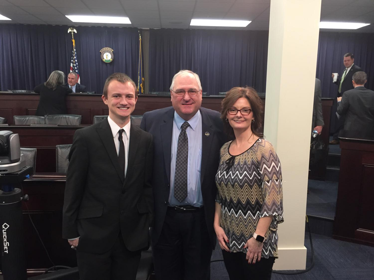 Senior Zach Combest, State Rep. Tipton and financial literacy teacher Amanda Comstock at the Capital.