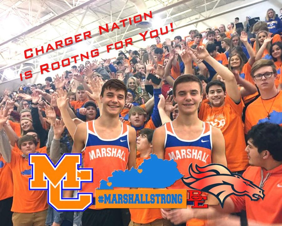 Picture made by Darrell Vincent showing the students supporting the Marshall County victims and the Cosner family.