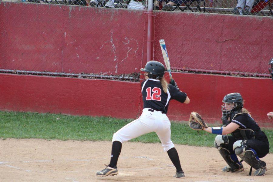 Morgan Harlbolt (sophomore) prepares to hit a pitch.