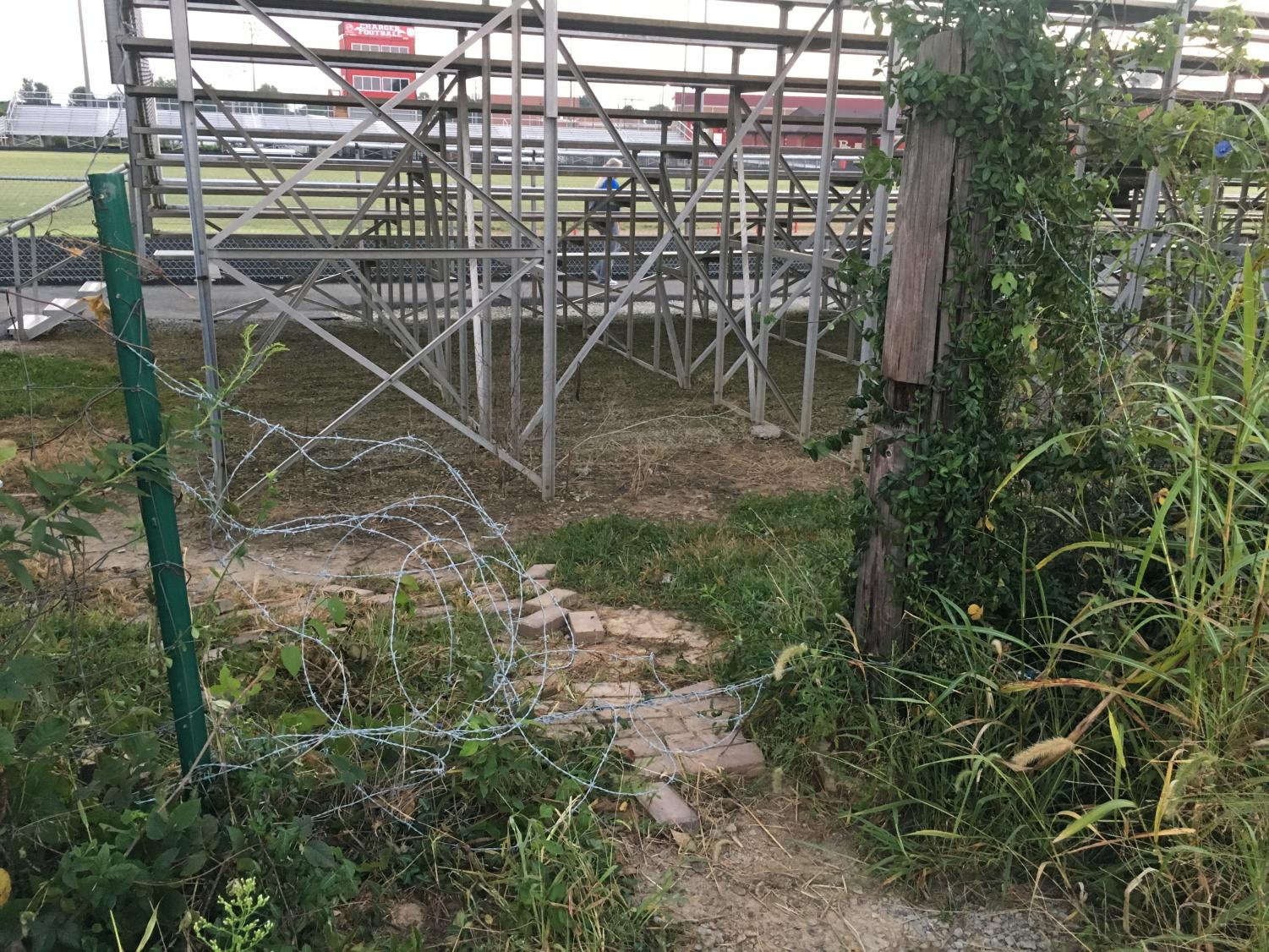 Here you can see the cut through and where the barbed wire fence was put in. You can also see where someone has bent it so that it is possible to step over.