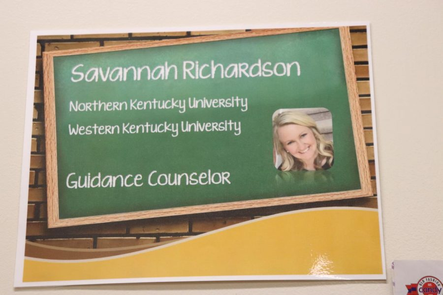 Richardson's guidance counselor sign out side of her office. She presented to english classes in the library for everyone's scheduling needs.