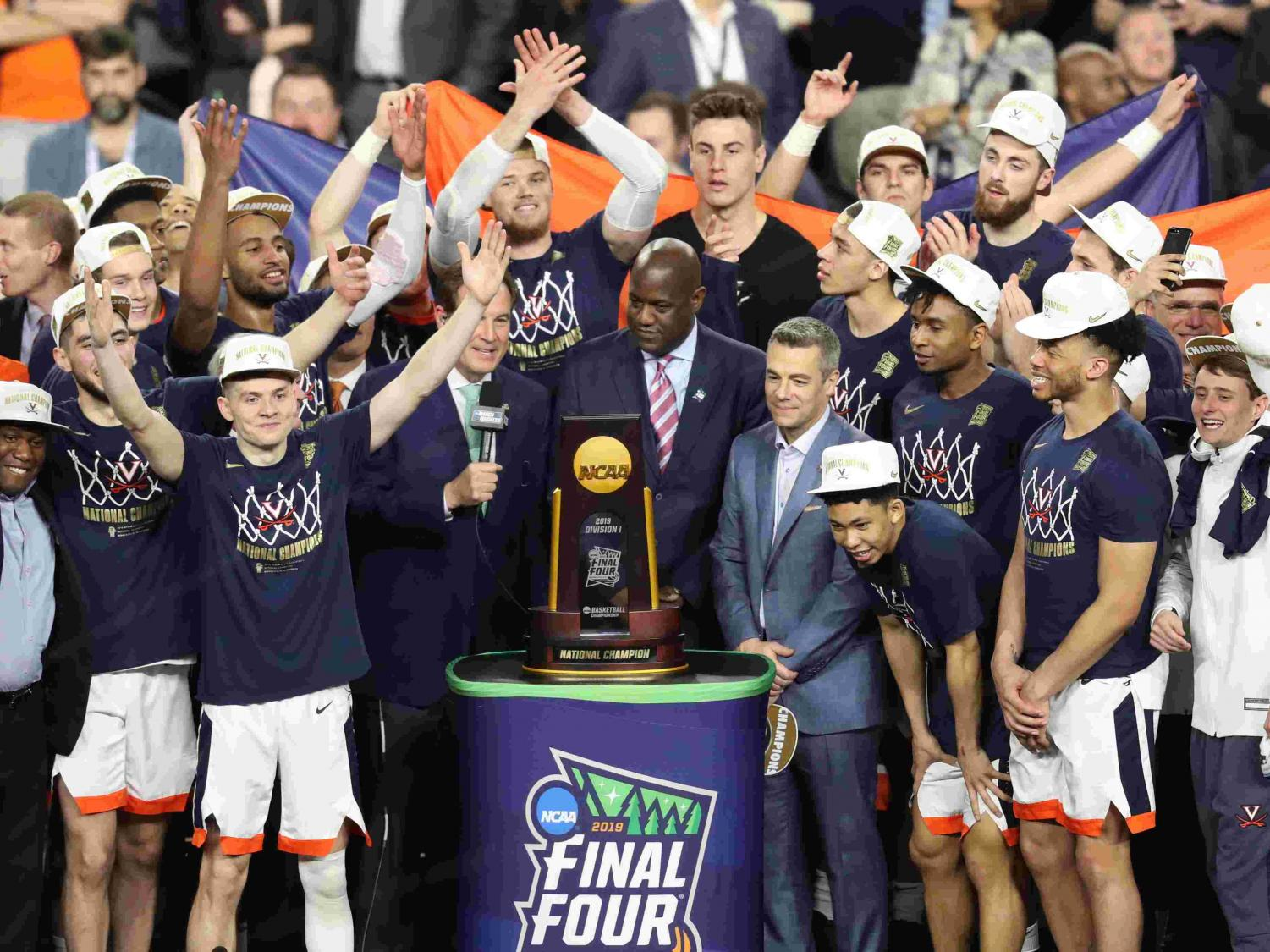 The trophy presentation to the Virginia Cavaliers as they celebrate their win. The Cavaliers defeated  Texas Tech in the championship game on April 8th.