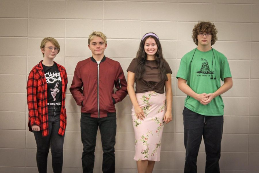 From left to right: Kyleigh Reeves, Cole Jeffries, Olivia Armstrong, Sam Mann. Four students are wearing some trends of 2019.