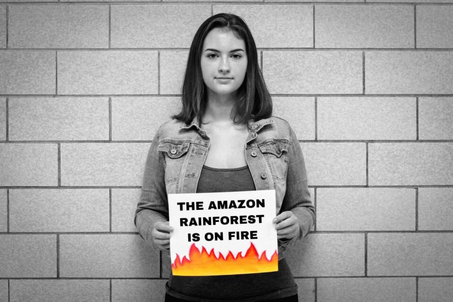 Expressing her passion of protecting the Amazon Rainforest, sophomore Molly Phelps holds up sign to spread awareness of the fire. She believes something should be done to protect the species native in the rainforest.