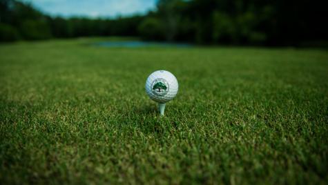 A golf ball sitting on a tee.