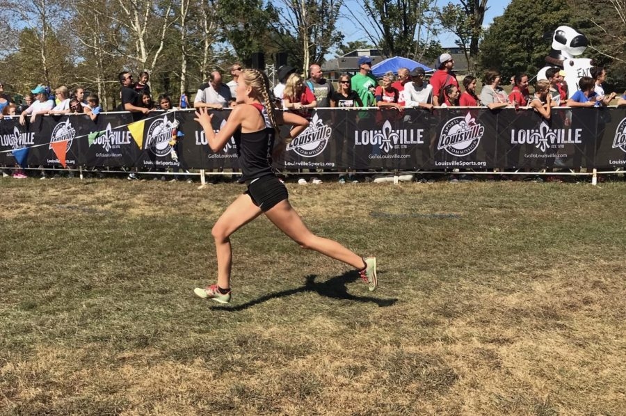 Freshman Raelee Hawkins pushes herself to the limit against competition. She finished 91st in the Greater Louisville Classic Invitational.