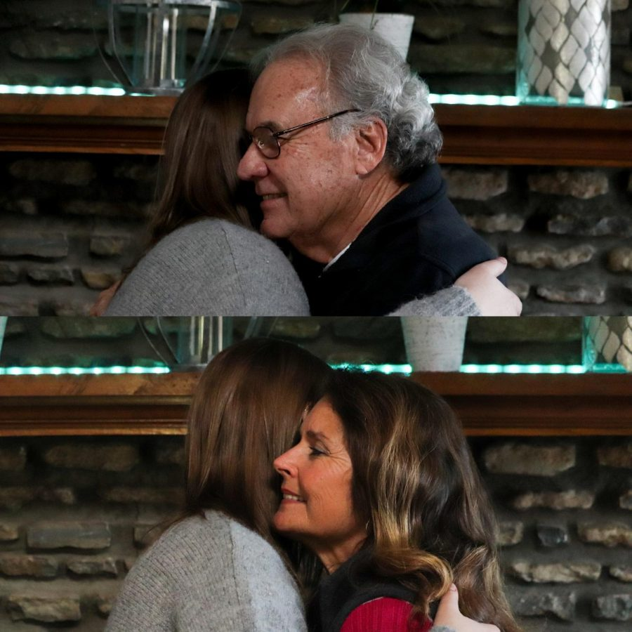 "Freshman Karley Britt and her stepgrandpa, Ronald Thompson, hugging in the top photo, and Britt and her grandma, Donna Thompson, hugging in the bottom photo. Stepfamily can be just as close as blood related family, with this step relationship and blood related relationship hugging in the same way. ""I'm big on my faith, and God, and one of the major teachings is that you love everybody. And so, that's kind of how I live my life, where we're supposed to love one another,"" said Ronald Thompson."