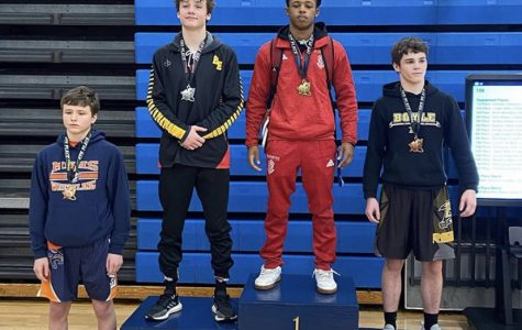 Freshman Logan Wells on the podium for his second place finish. He has had a successful season so far in his eyes and looks forward to the rest of it.