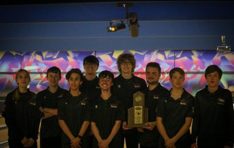 """The team of bowlers that bowled at the Regionals tournament. Jan. 27, the Regionals tournament for bowling was held, and after facing off against Doss High School, DeSales High School, Fairdale High School and finally North Bullitt High School, Bullitt East was declared the champion. """"So, we did get it going against Doss. Kids were a little tight against DeSales, but man, they took care of business, and once we did that, I felt like we had a really good chance to qualify for the state tournament, and win the region. Fairdale gave us everything that we could handle, but we just came out on top, by just a little, and then North Bullitt, we had pretty well handled them this season, and I feel like our confidence was very high, against them,"""" said bowling coach Lenny Raley, """"Dylan (Young), all season long, has just been the anchor, and I call him, 'The ice-man,' because he has ice in his veins, and it doesn't affect him. You know, he's just solid; ice is solid, and he is solid. So, I'm just smiling thinking about it, and I'm very happy for our kids."""""""