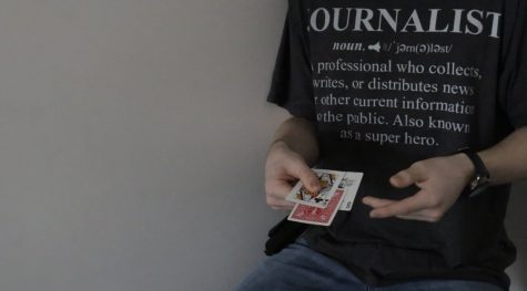 Photo from the first card trick that was performed. You get to make the decision on what that card in the middle is, if you watch the video.